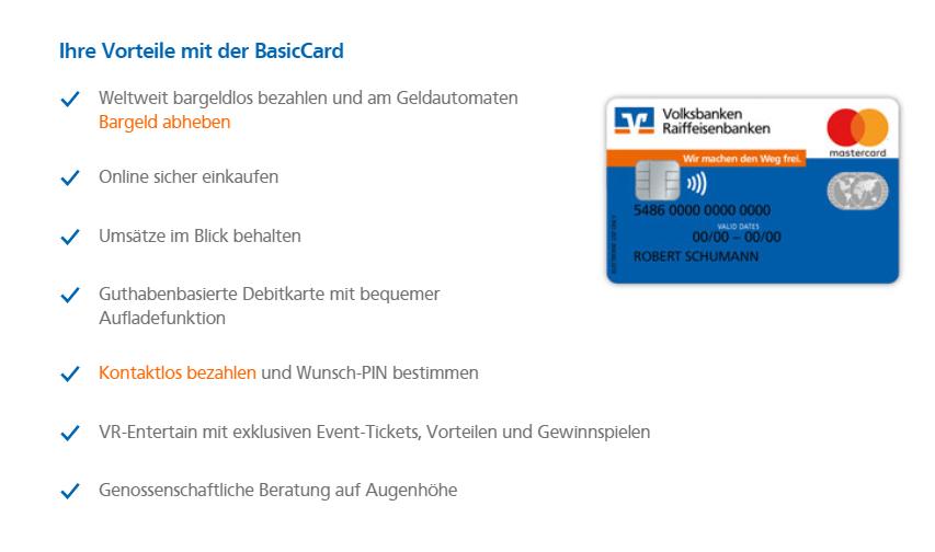 Diese Vorteile sprechen für die BasicCard der Volksbank