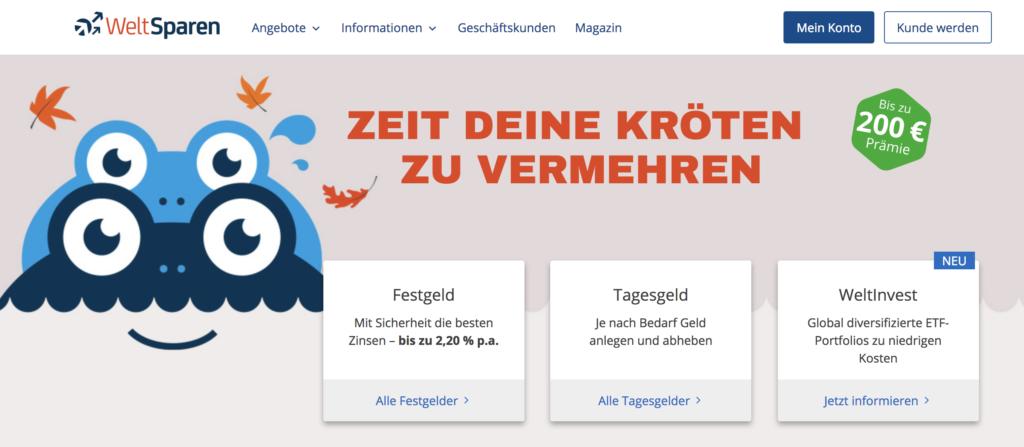 Die WeltSparen Webseite hält die besten Angebote bereit