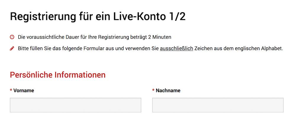XM Kontoeröffnung