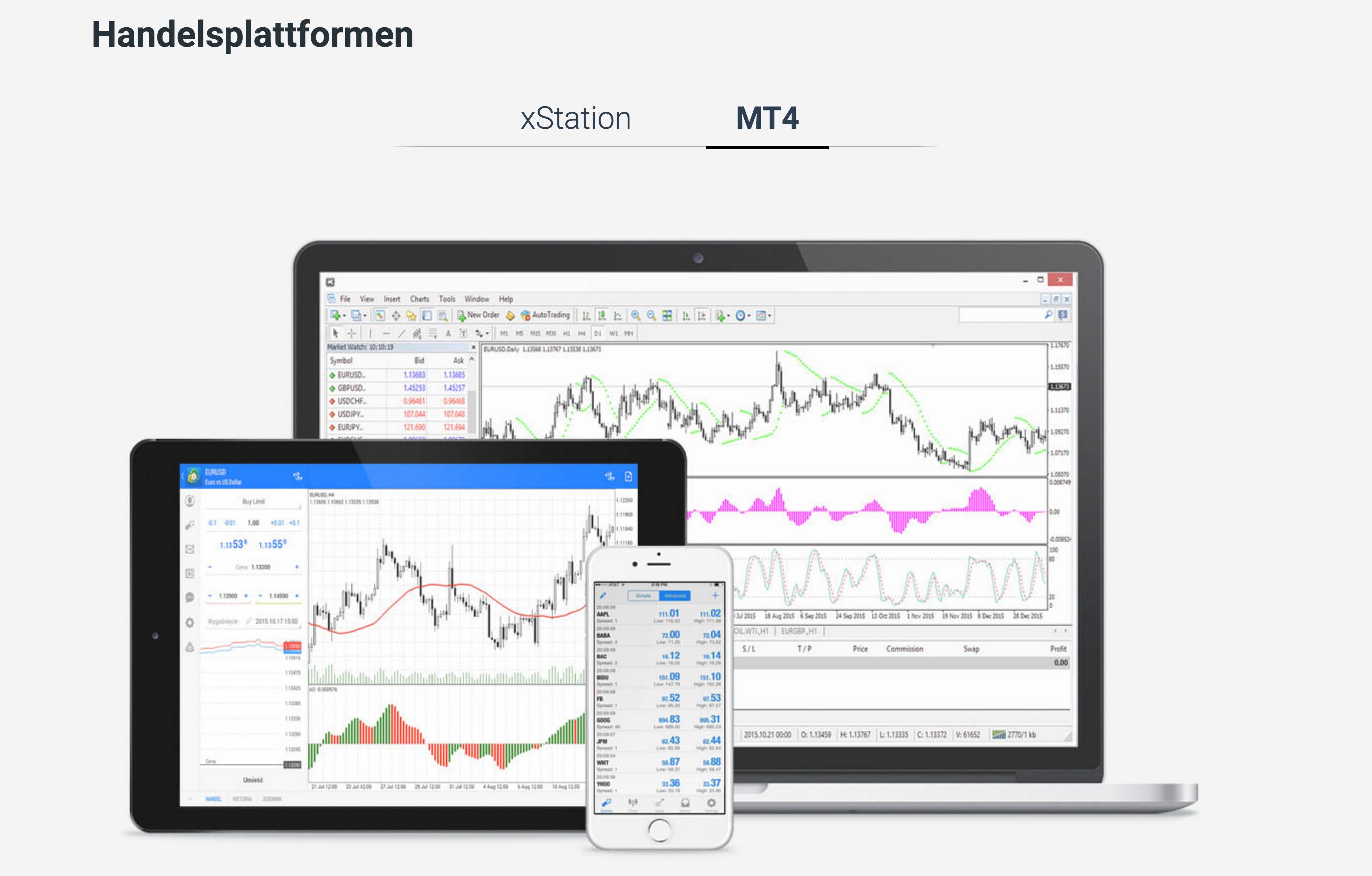 XTB Handelsplattformen MT4 Trading App