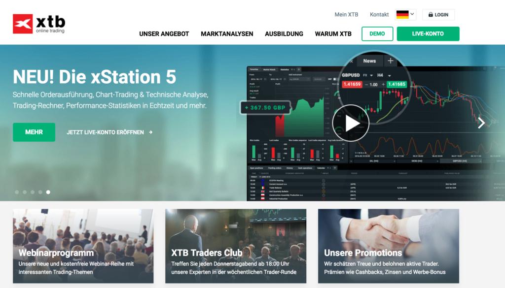 Tradern wird bei XTB eine übersichtliche und gut gegliederte Webseite geboten