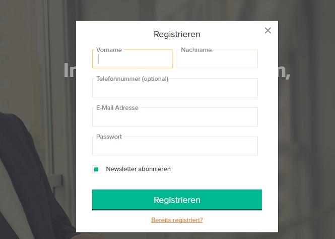 Zinsbaustein.de Registrierung
